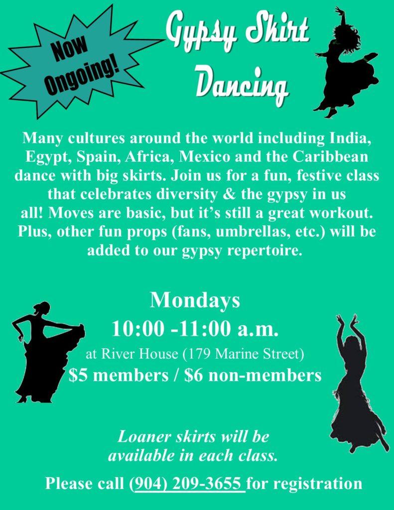 Gypsy Skirt Dancing on Mondays Flyer