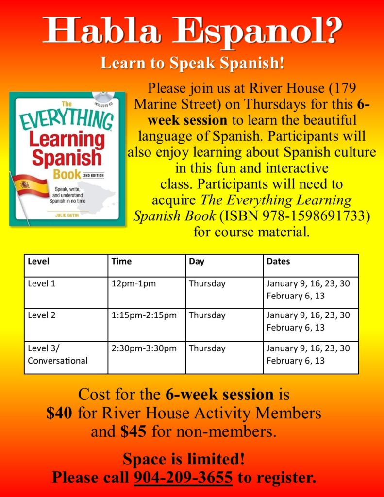 Spanish Classes in January flyer
