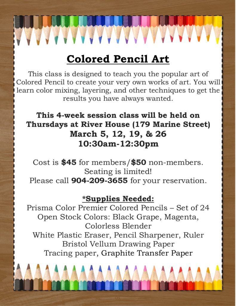 Colored Pencil Art Level 1 Class flyer