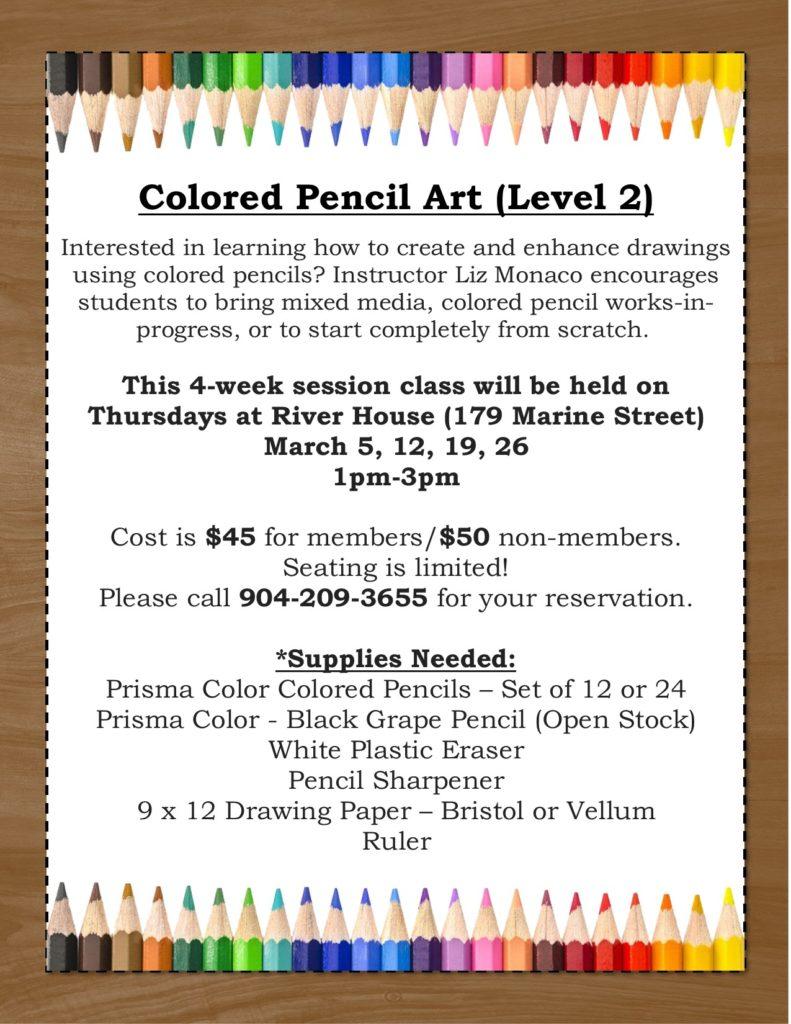 Colored Pencil Art Level 2 Class Flyer