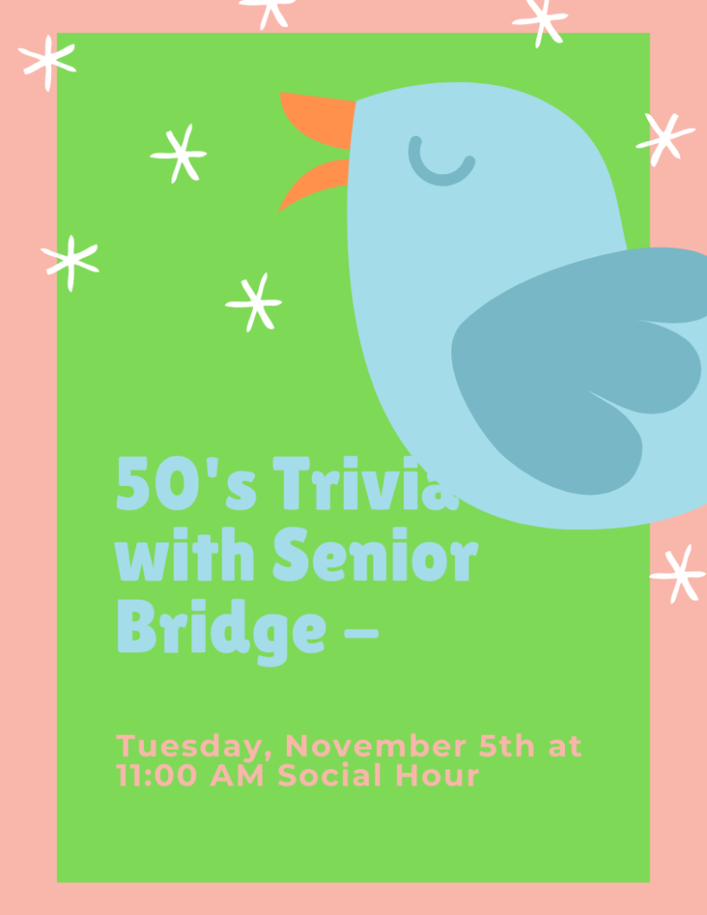 50's Trivia with Senior Bridge Flyer