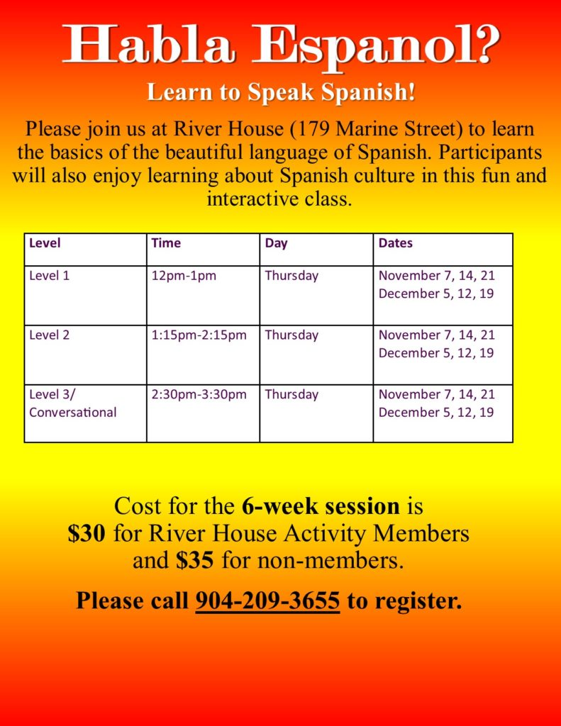 November Spanish Classes at River House