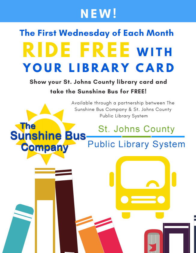 Sunshine Bus Riders can ride free each first Wednesday of the month when they show their SJC Library Card to the Driver