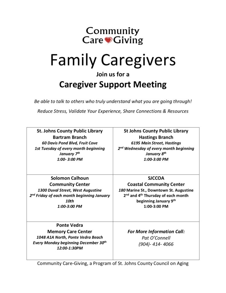 Caregiver Support Meeting times